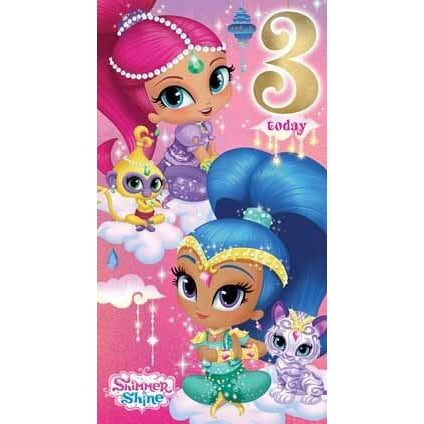 Shimmer and Shine Age 3 Birthday Card