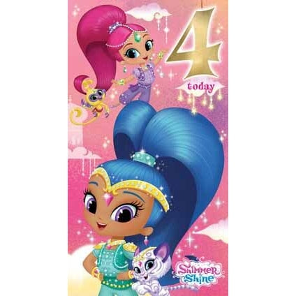 Shimmer and Shine Age 4 Birthday Card