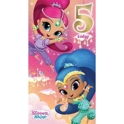 Shimmer and Shine Age 5 Birthday Card