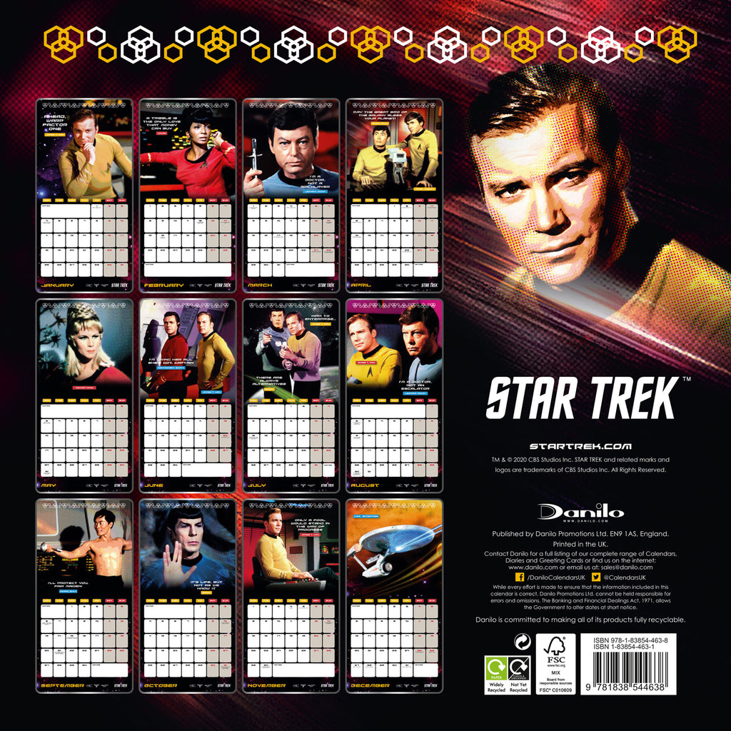 Star Trek 2021 TV Series Calendar Back Cover