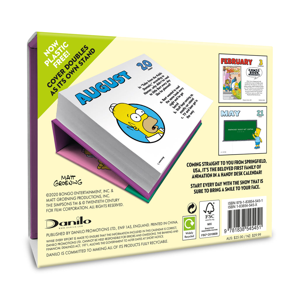 The Simpsons 2021 Desk Block Calendar Back