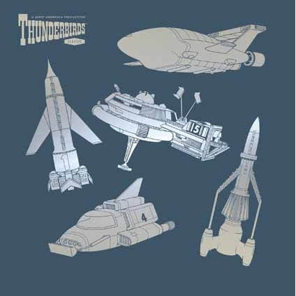Thunderbirds Vehicles Blank Greetings Card