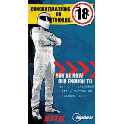 Top Gear 18th Birthday Badged Card