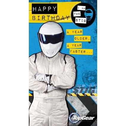 Top Gear General Happy Birthday Badged Card