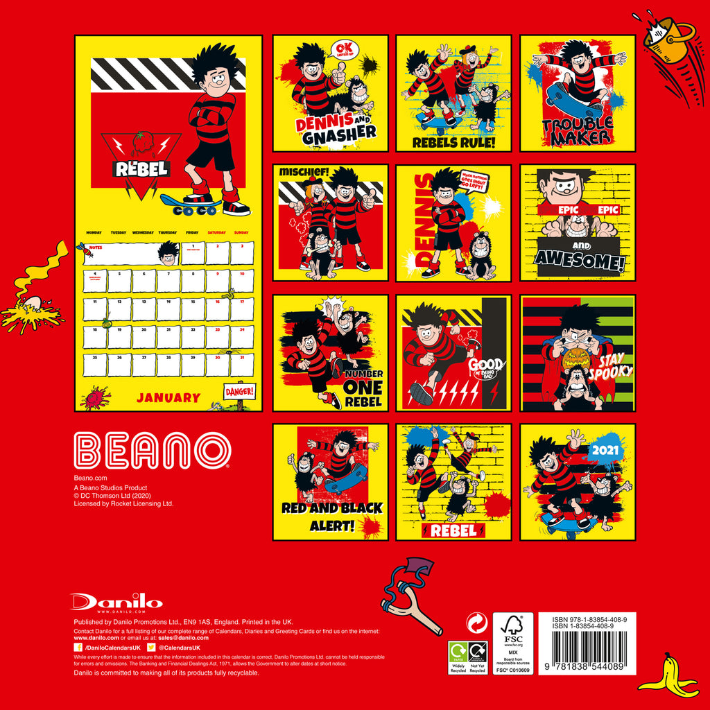 The Beano (Classic) 2021 Calendar Back