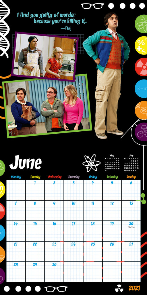 Big Bang Theory Official 2021 Square Wall Calendar INSIDE