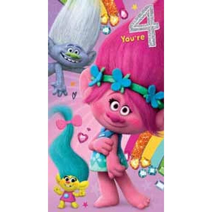 Trolls Age 4 Birthday Card