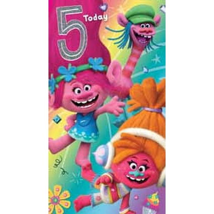 Trolls Age 5 Birthday Card