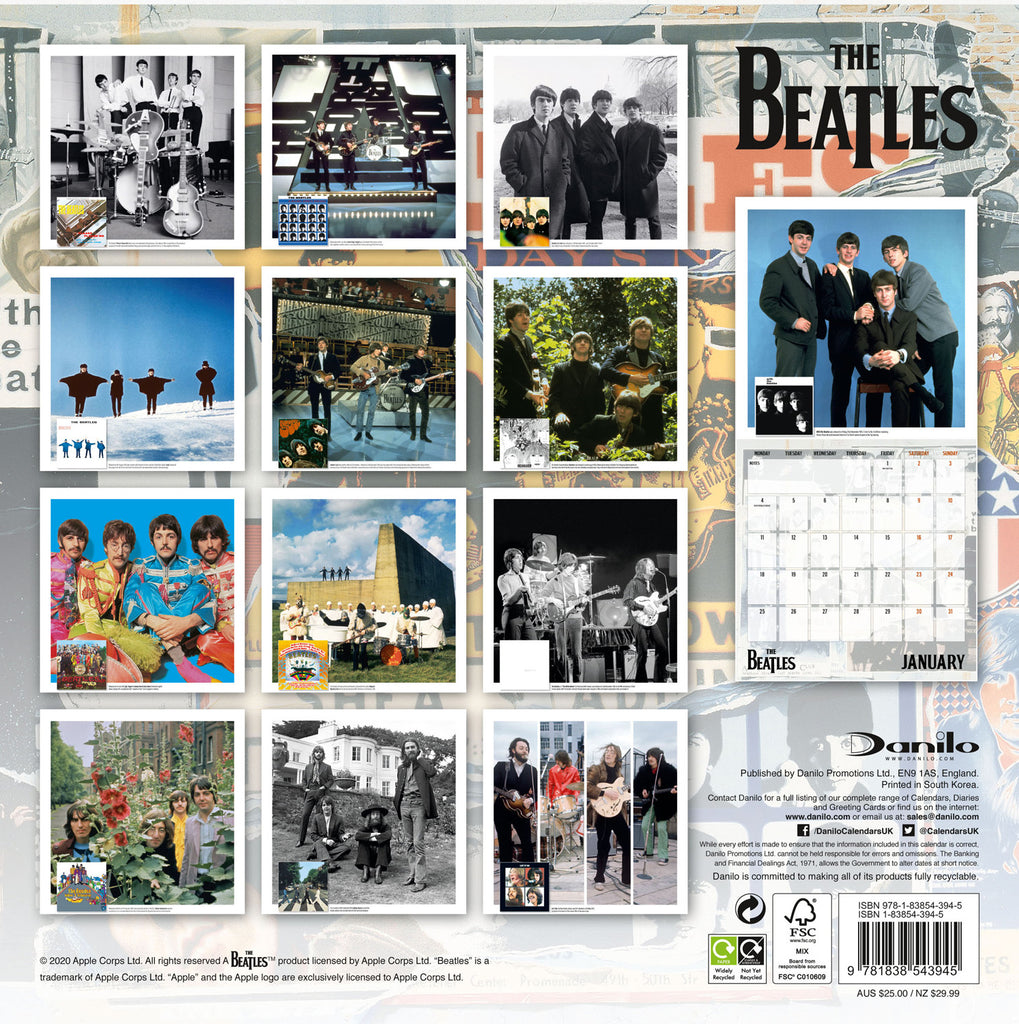 The Beatles Official 2021 Square Wall Calendar Back