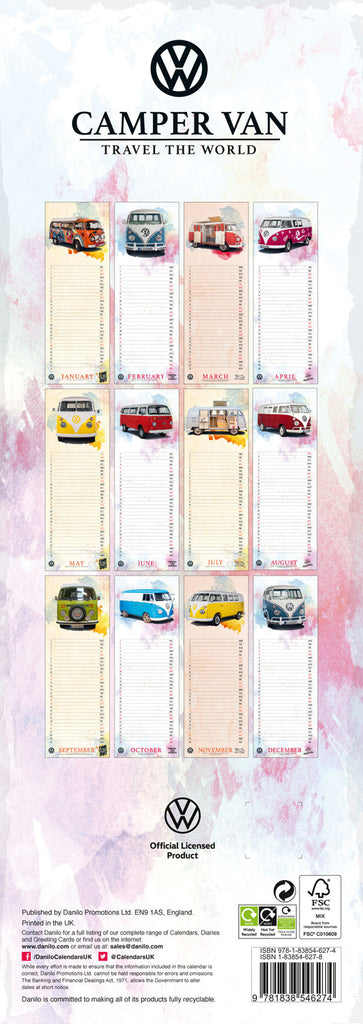 VW Volkswagen Camper Vans Official Slim 2021 Calendar Back
