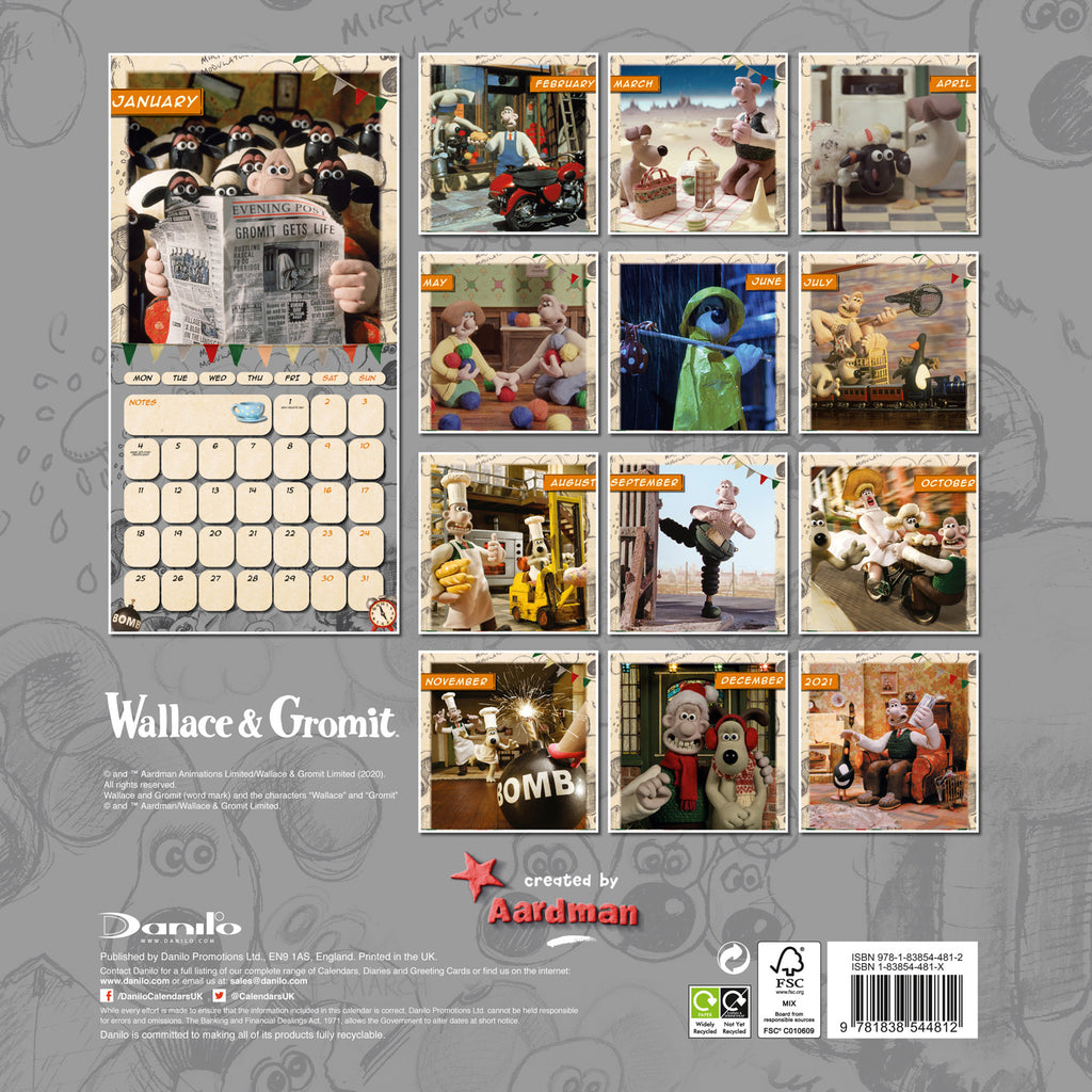 Official Wallace & Gromit Square 2021 Calendar Back