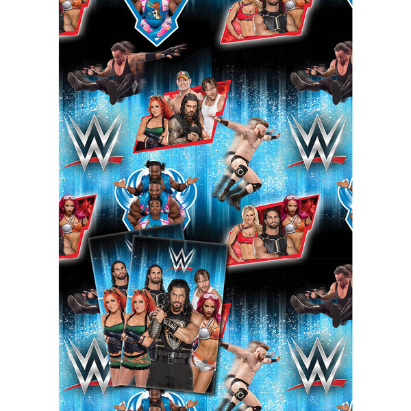 WWE Wrestling Gift Wrap 2 Sheets and Tags