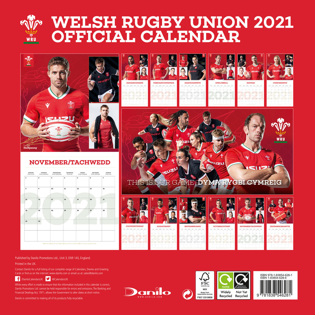 Wales Rugby Union Square Wall Calendar BACK