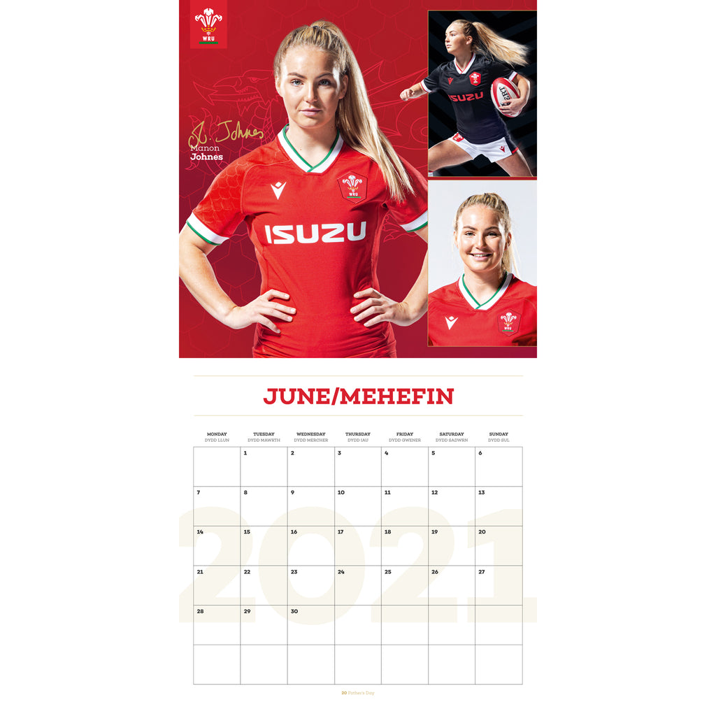 Wales Rugby Union Square Wall Calendar INSIDE