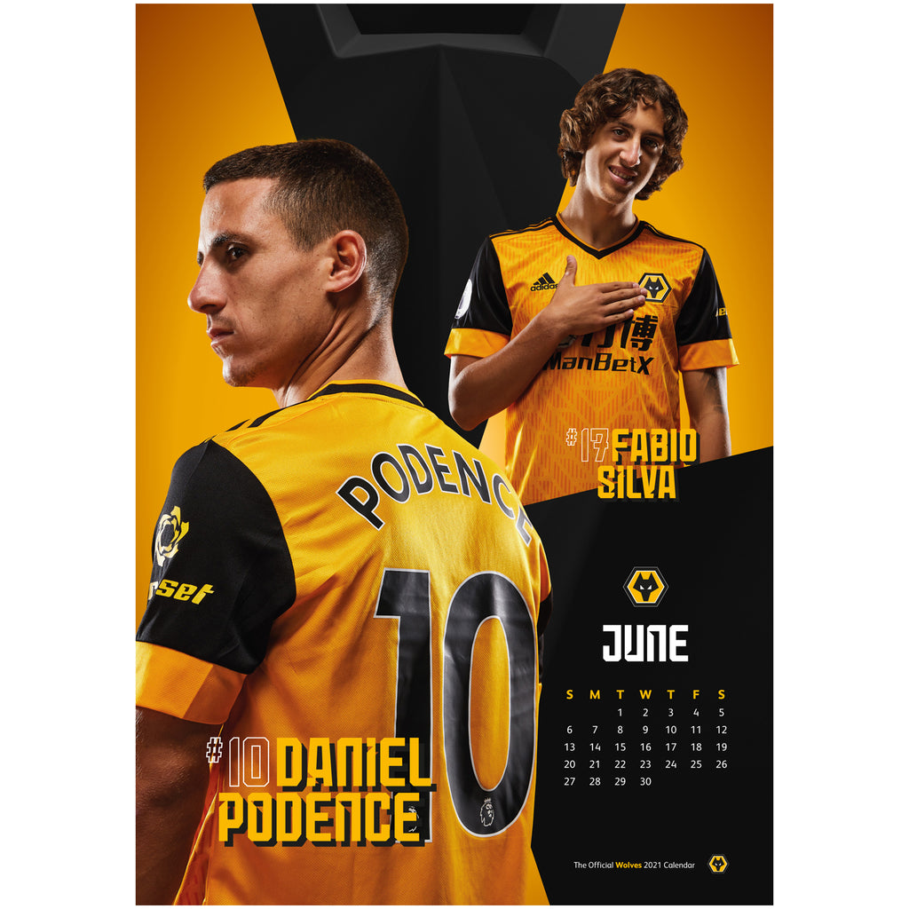 Wolverhampton Wanderers Football Club 2021 A3 Wall Calendar Inside