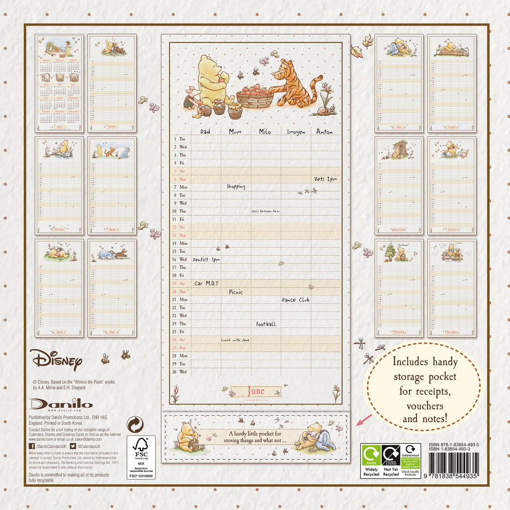 Winnie The Pooh (Classic) Official 2021 Family Organiser Back