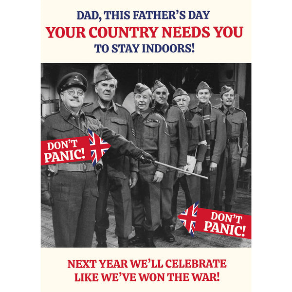 Dad's Army Stay Indoors Father's Day Card Front