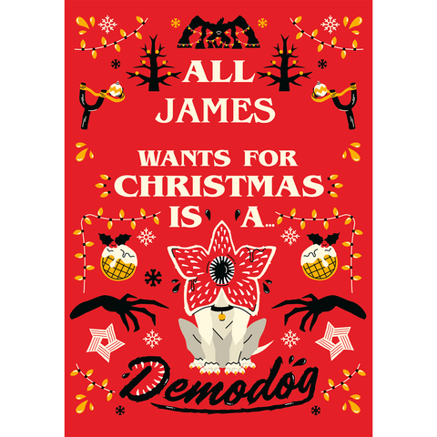 Personalised Stranger Things Christmas Card A5 Greeting Card