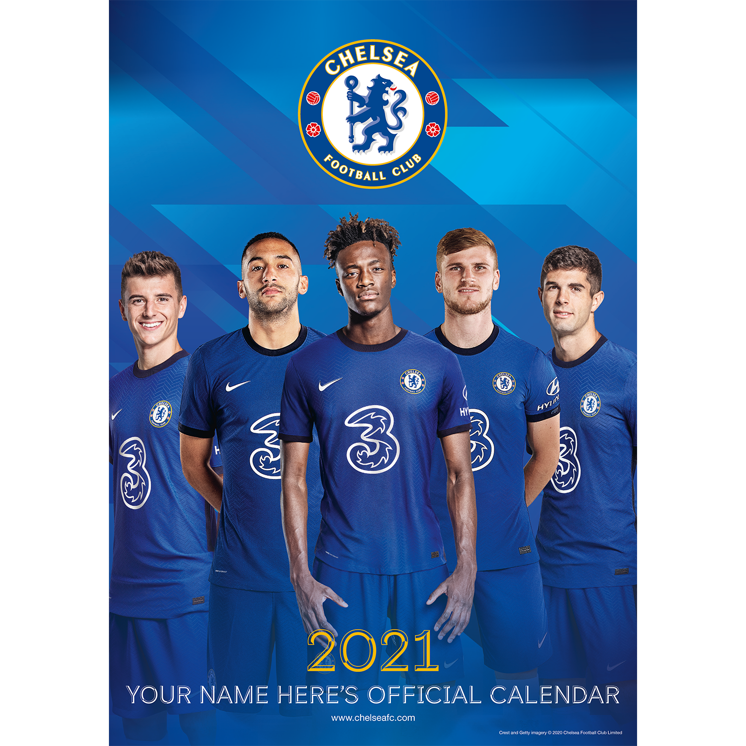 Personalised Chelsea Football Club 2021 A3 Wall Calendar