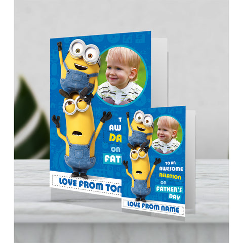 Giant Personalised Minion Father's Day Photo Card