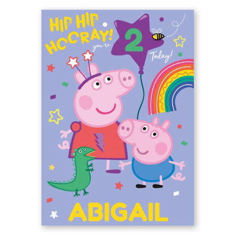 Peppa Pig Personalised Age and Name Birthday Card