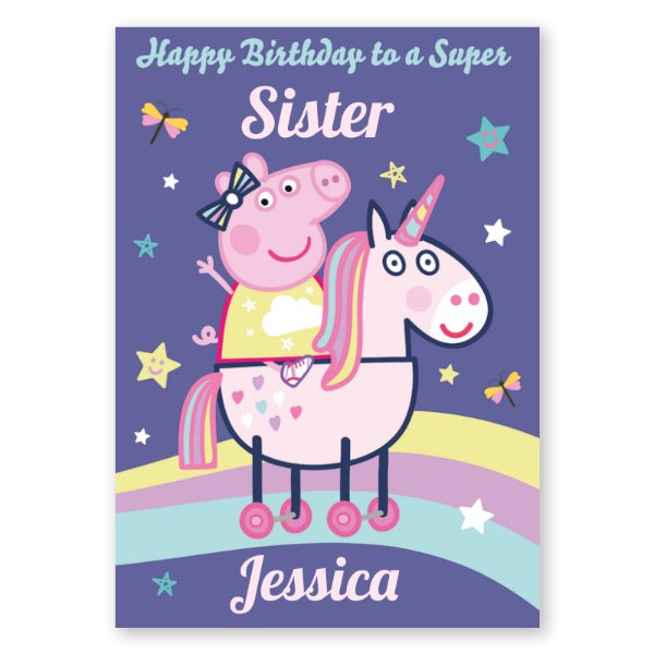 Peppa Pig Personalised Any Relation and Name Unicorn Birthday Card