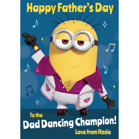 Giant Personalised Minion 'Dancing Champion' Father's Day Card