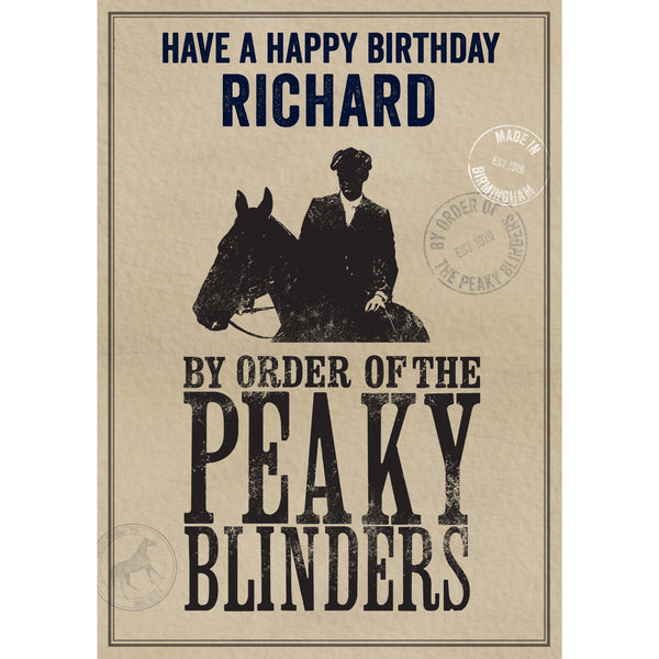 Peaky Blinders Personalised Birthday Card Front Cover