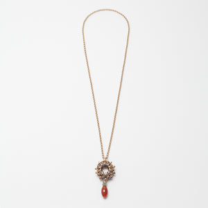 Collana Necklace Rosone Ottone Brass Carnelian Brengola