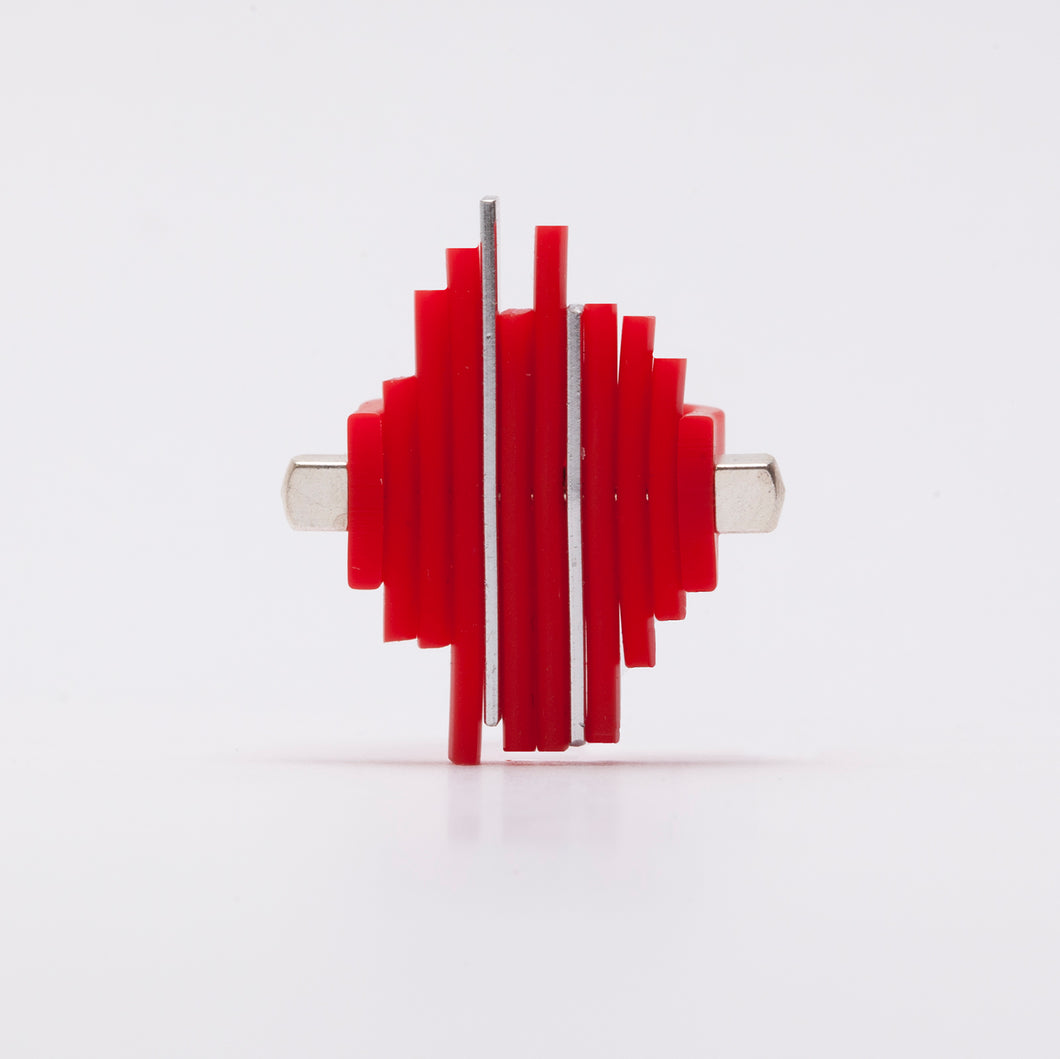 Anello Ring Acciaio Stell Silicone Rosso Red Brengola