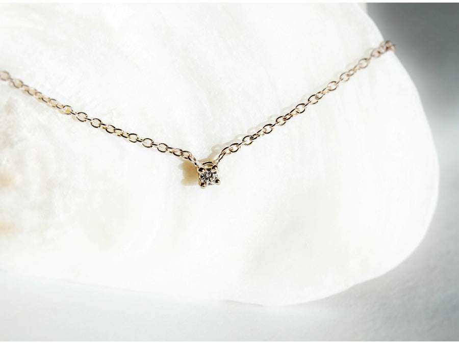 Dainty Diamond Necklace Yellow