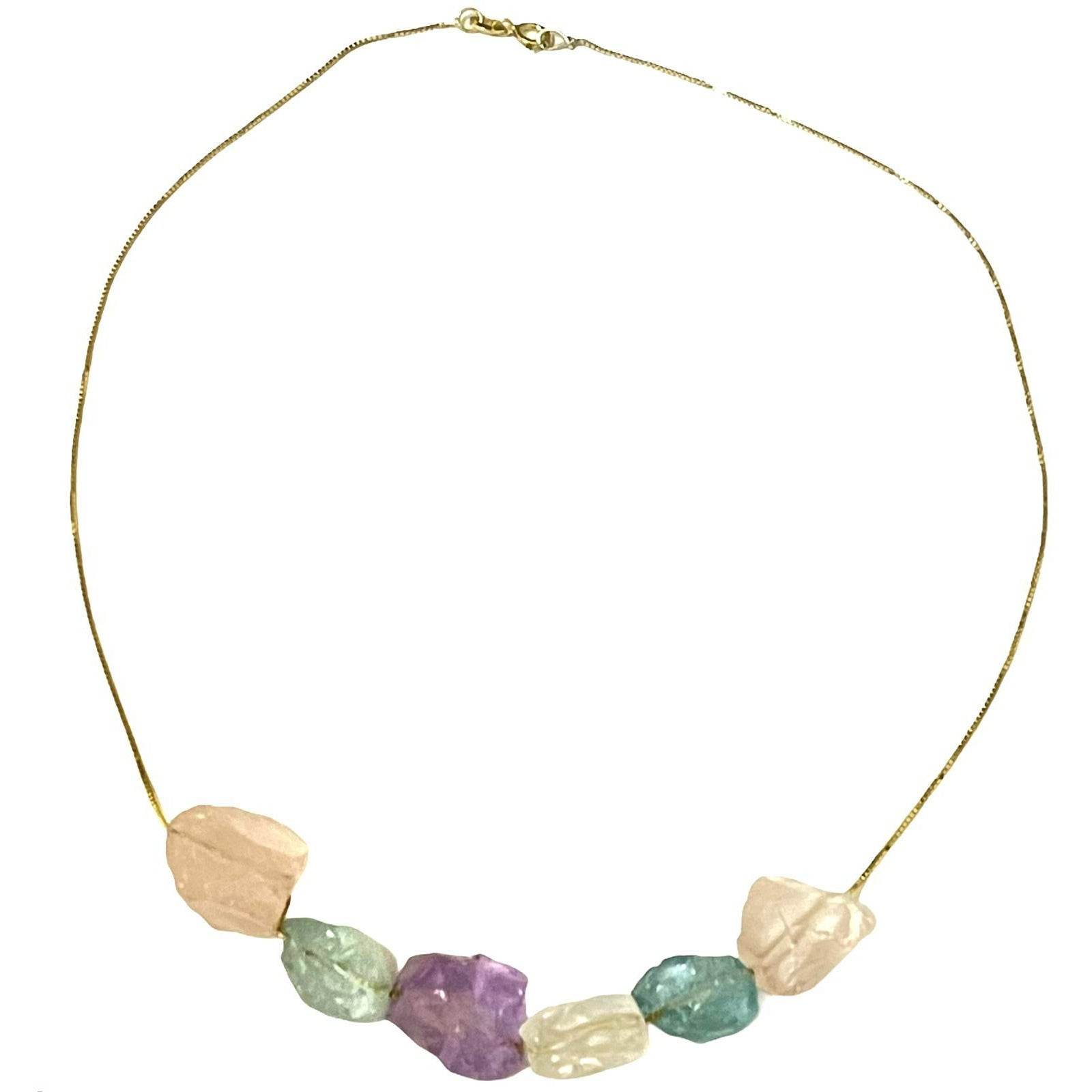 Elegant Crystal Necklace with rough raw stones gold plated over Silver, Made to order, 10 days lead time - natoorio