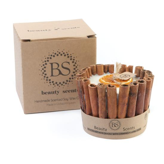 Cinnamon & Orange Scented Natural Wax Candle with Cinnamon Long Sticks - natoorio