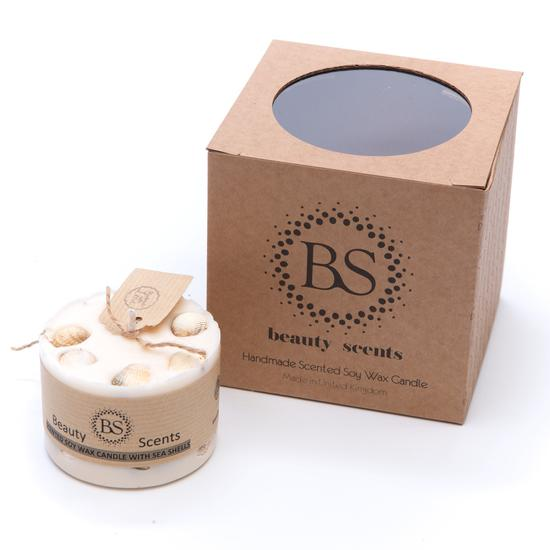 Champagne&Roses Scented Natural Wax Candle with Sea Shells D 7.5 cm H 5 cm - natoorio