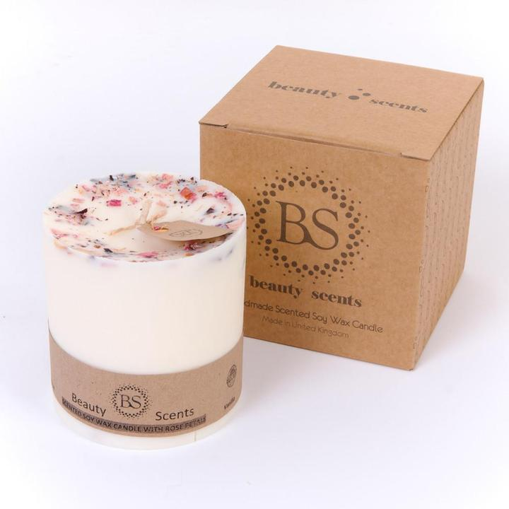 Large Jasmine Scented Soy Wax Candle With Rose Petals - natoorio