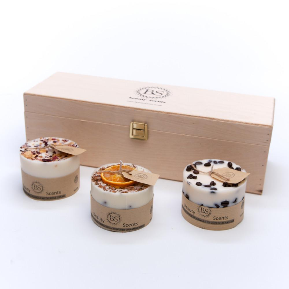 Scented Natural Gift Set of 3 Different Candles, Handmade, NATURAL, PRE-ORDER, delivery around 25th November - natoorio