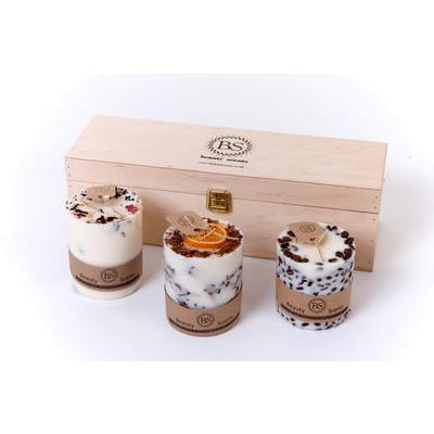Gift Set of 3 Different Candles with wooden box - natoorio