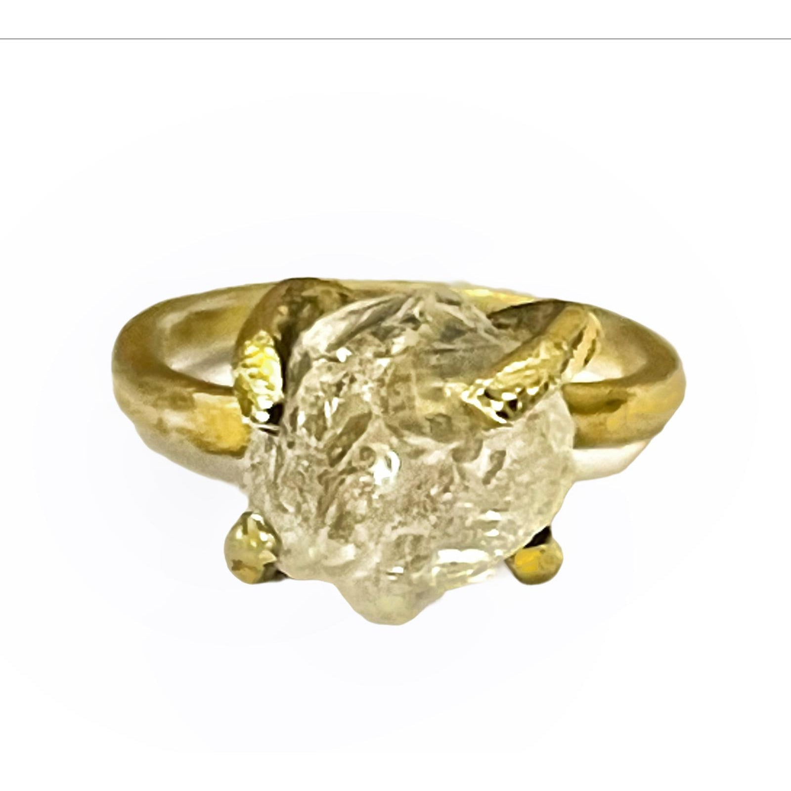 White Quartz Raw Rough Ring 24 K Gold Plating over Silver, Made to order - 10 days lead time - natoorio