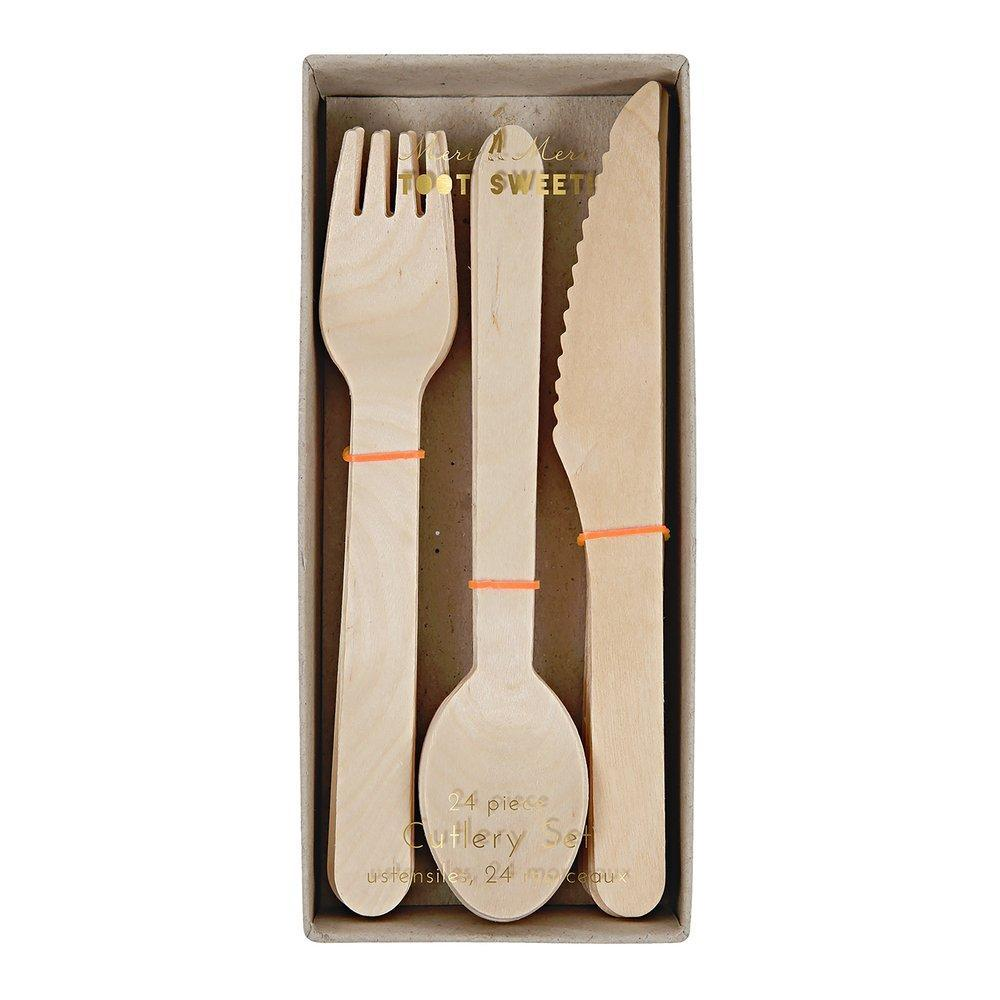 Wooden Cutlery Set - Pack of 24 - natoorio