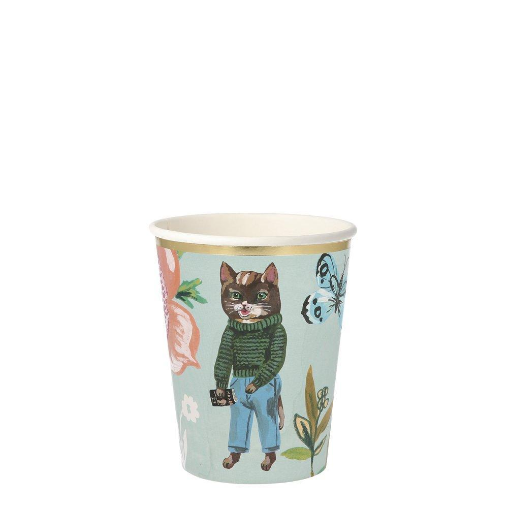 Nathalie Lete Flora Cat Party Cups, Pack of 8 in 8 designs, Product capacity: 256ml - natoorio