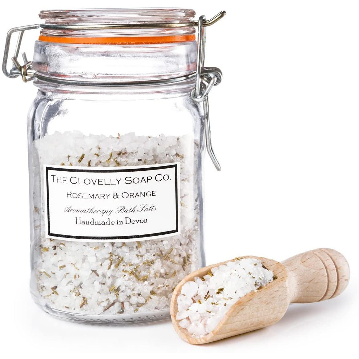 Rosemary & Orange Bath Salts with Sea Salt, Epsom Salt, Dendritic Star Salt, Essential Oils and Botanicals and its own wooden scoop - natoorio