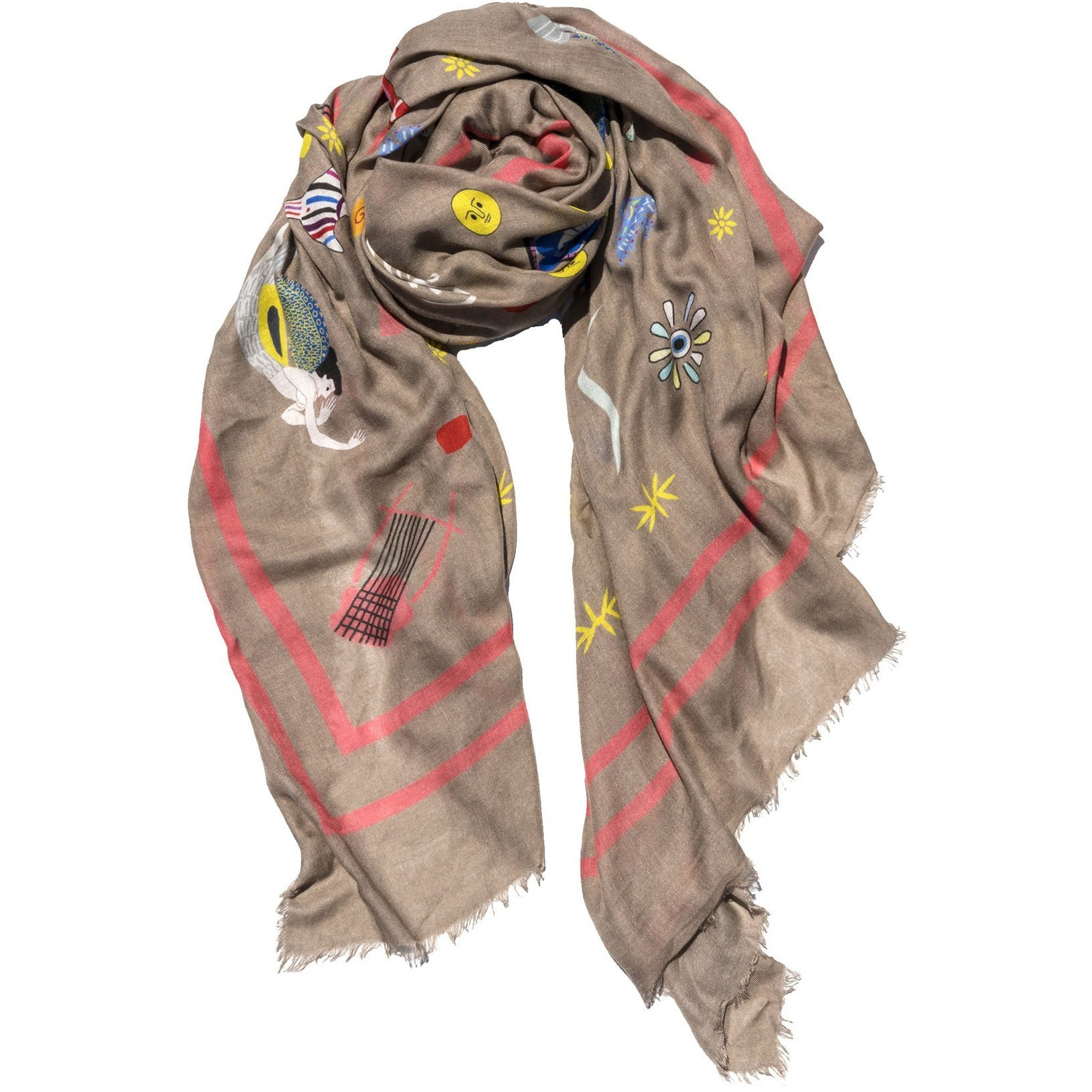 Cyclades Olympia Cashmere Blend Scarf in Beige - natoorio