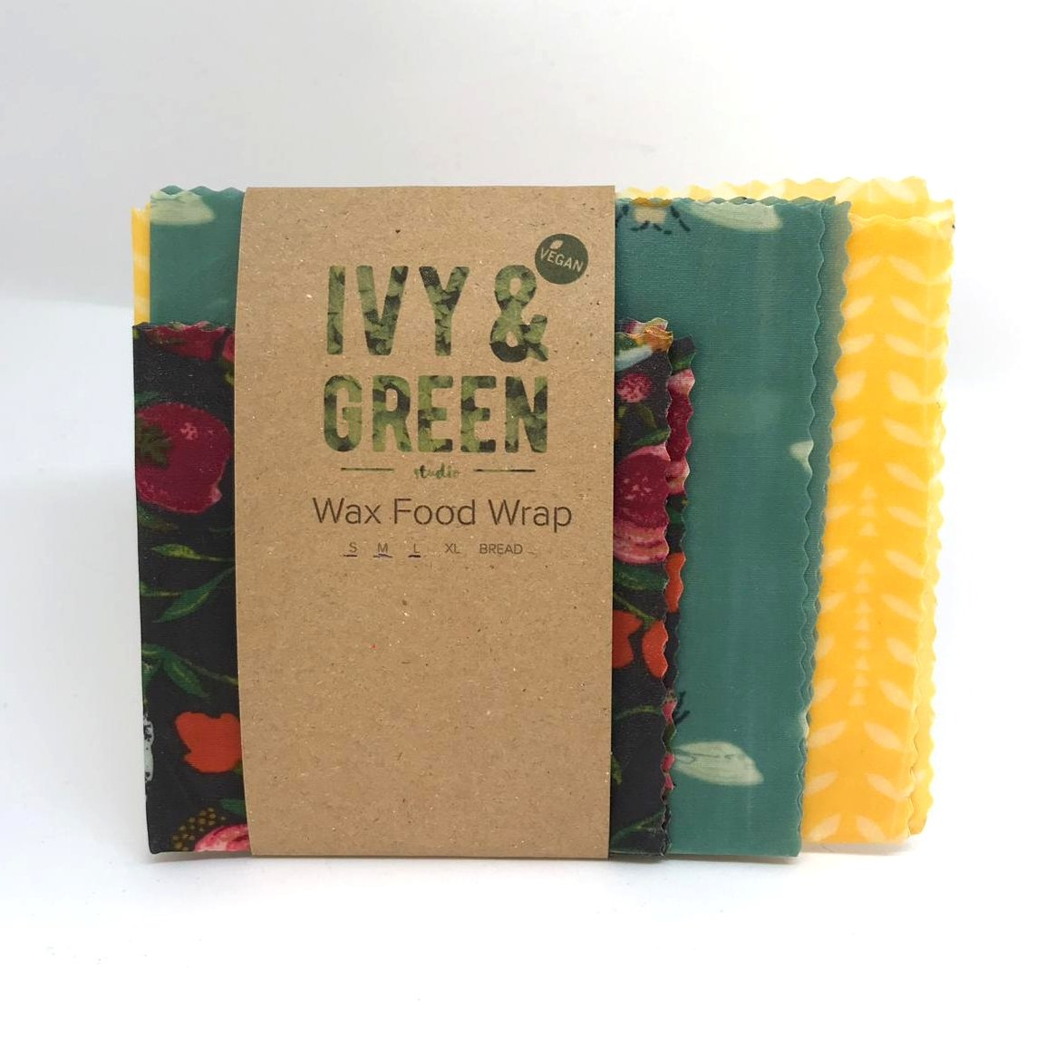 Vegan Wax Food Wraps  (set of 3) - GARDEN - Made with plant based waxes, pine resin & jojoba oil. - natoorio