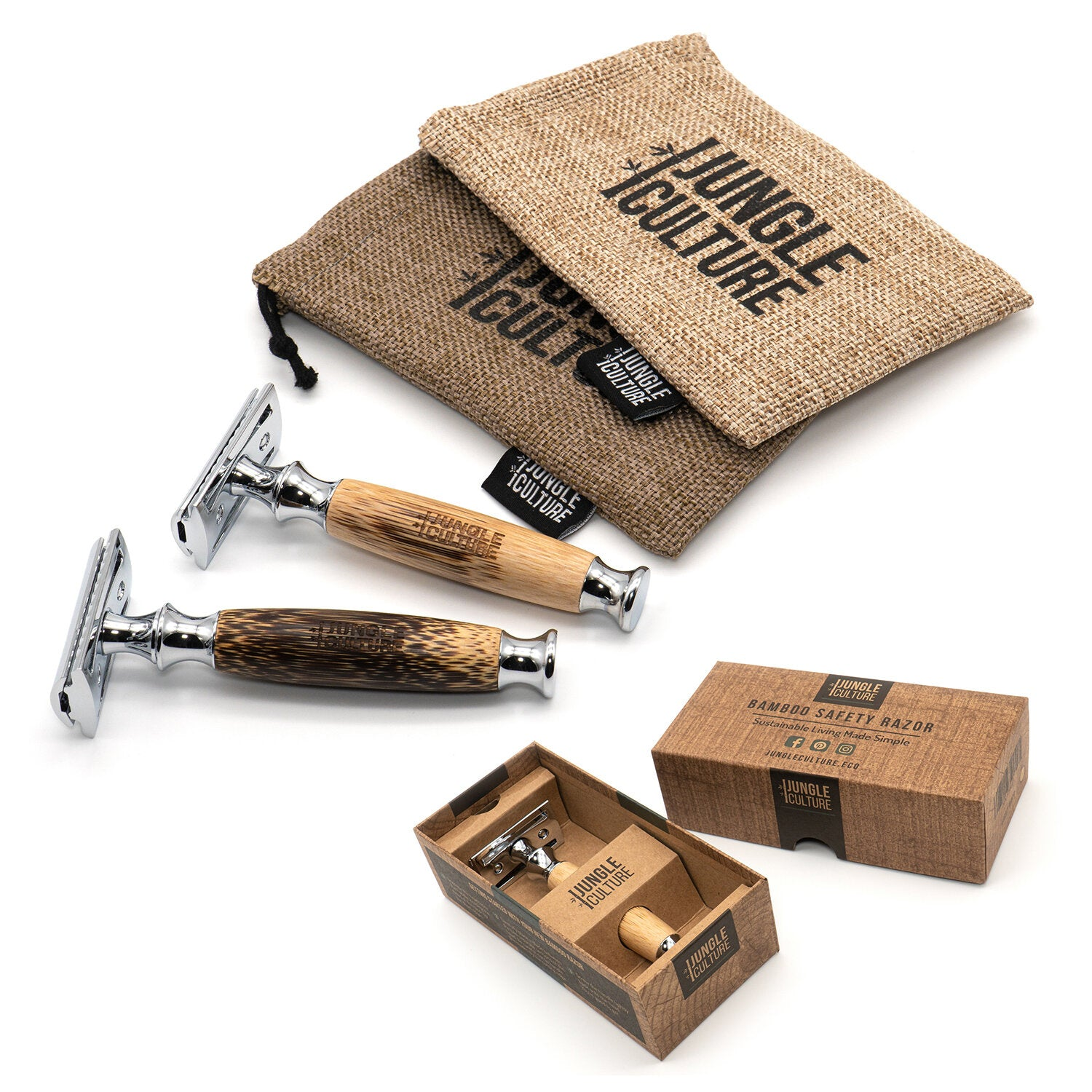 UNISEX BAMBOO SAFETY RAZOR & HESSIAN TRAVEL BAG, PLASTIC FREE, ZERO WASTE (NO BLADE INCLUDED) - natoorio
