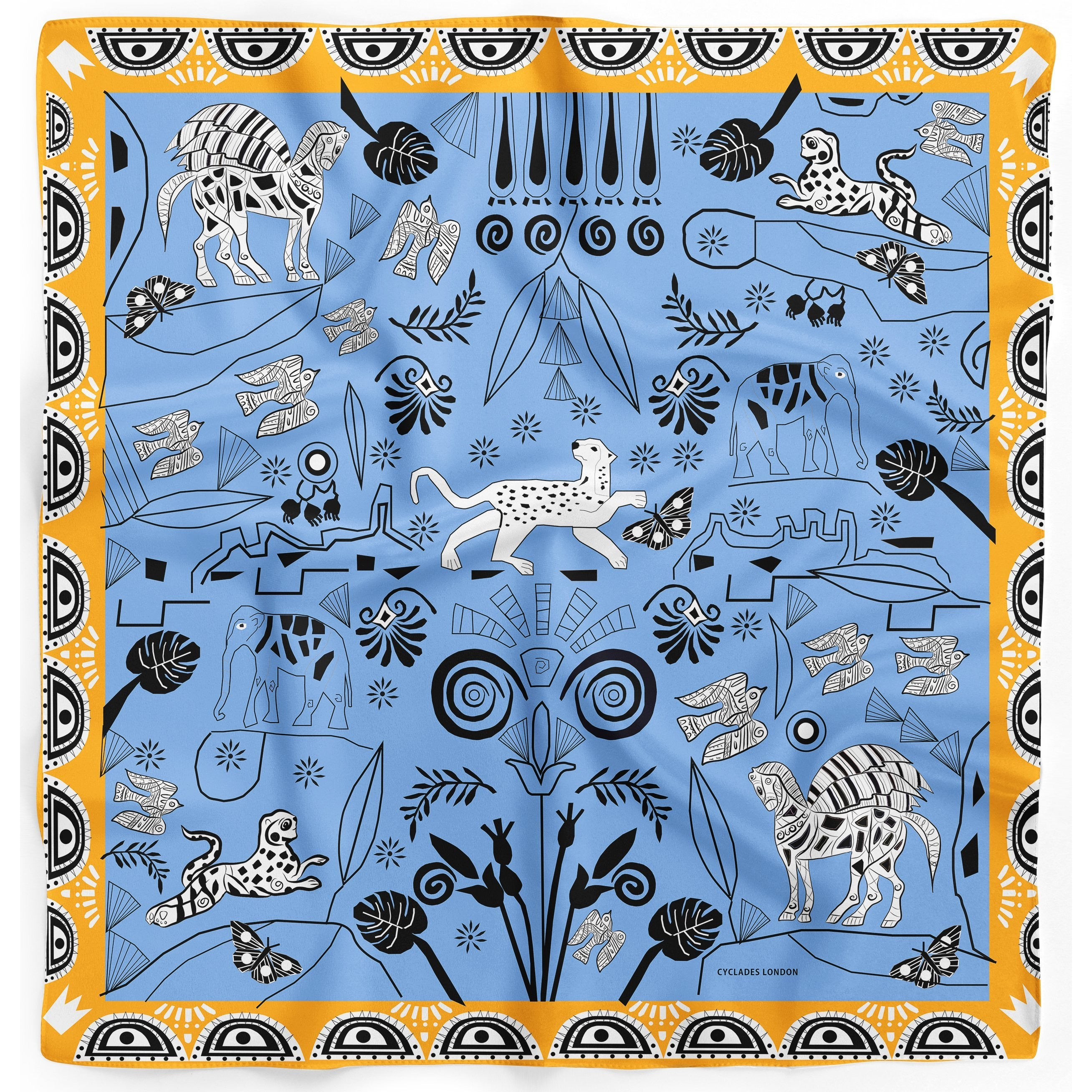 Cyclades Silk Scarves Jungle in Blue - natoorio