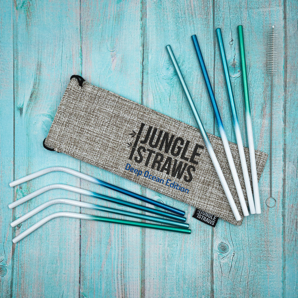 JUNGLE STRAWS OCEAN INSPIRED STAINLESS STEEL STRAWS & HESSIAN BAG, PLASTIC FREE - natoorio