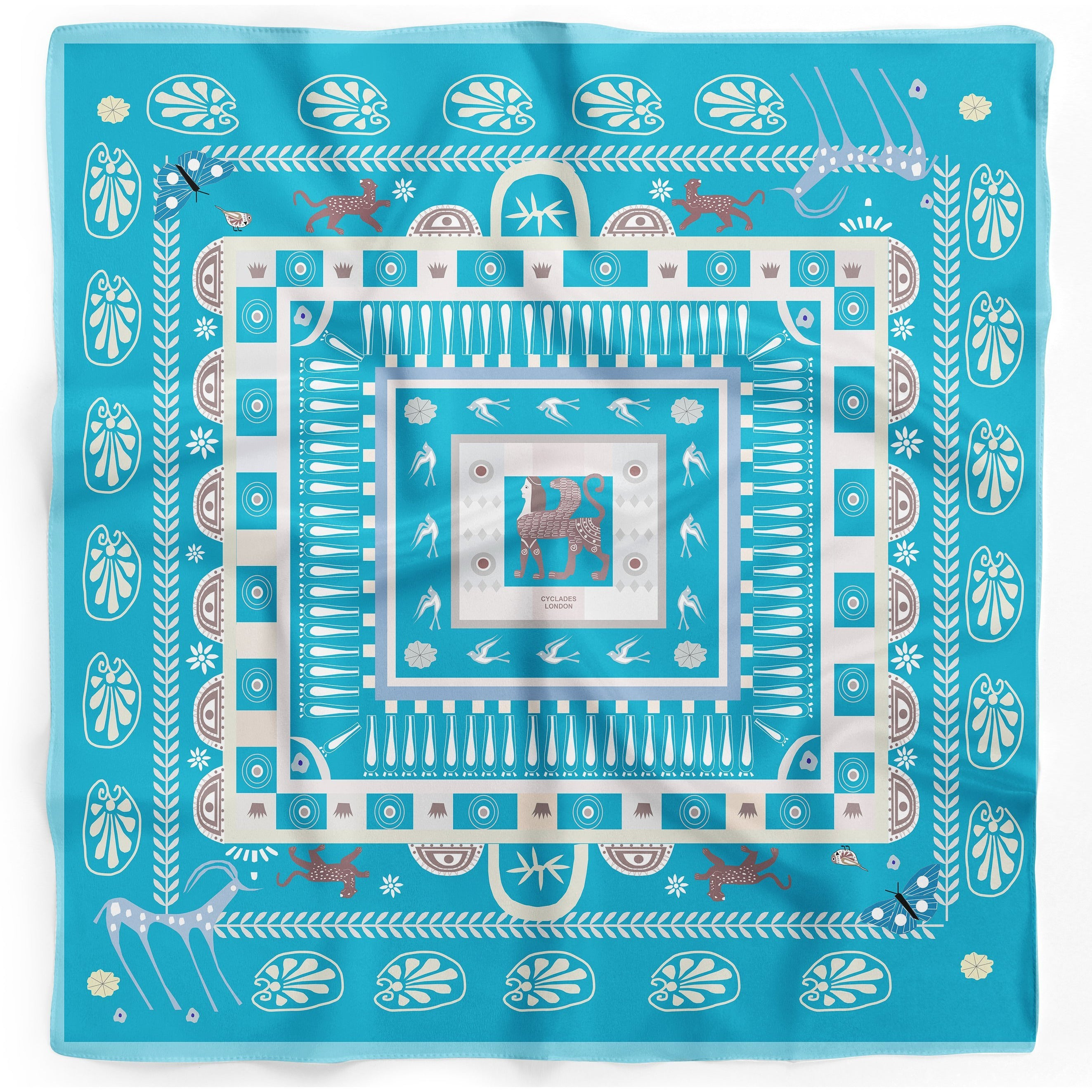 Cyclades Pocket Square Silk Scarf Midas Green Blue - natoorio