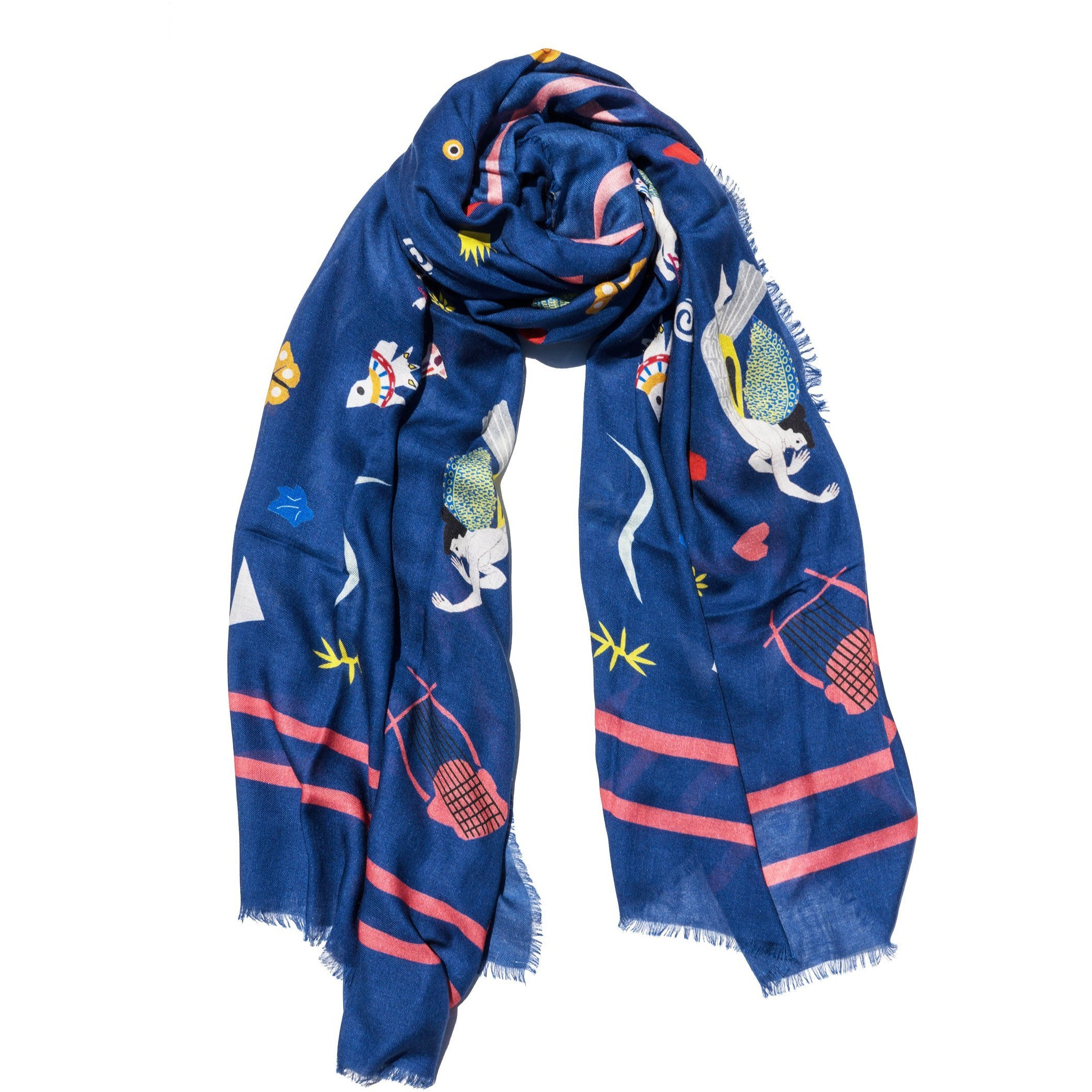Cyclades Olympia Cashmere Blend Scarf  Blue - natoorio