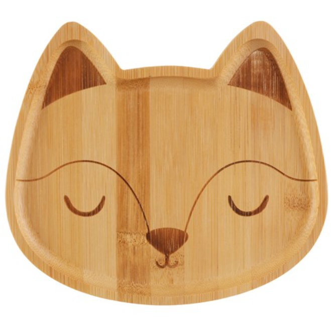 WOODLAND FOX BAMBOO PLATE - KIDS - 100% planet-friendly bamboo - natoorio