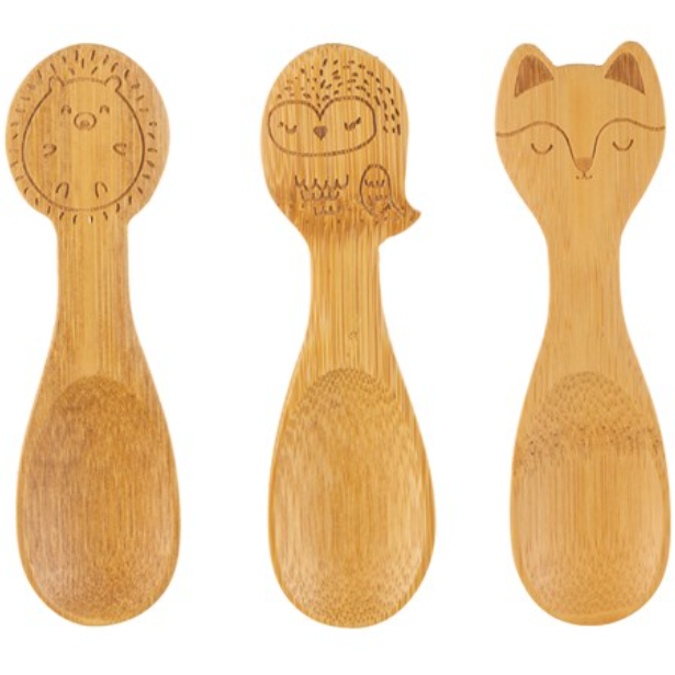 WOODLAND BABY BAMBOO SPOONS - SET OF 3 - 100% planet-friendly bamboo - natoorio